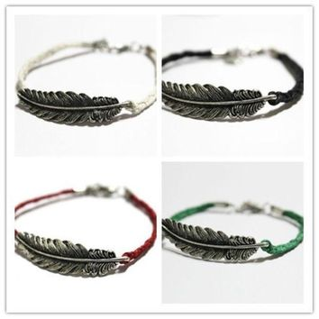Feather Bracelet Leaves Bracelet Handmade Bracelet Antique Silver Cute Charm Friendship Bracelet Personalized Jewelry = 1930331716