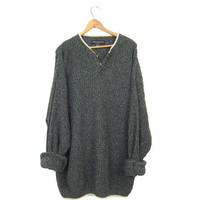 Oversized Slouchy Henley Sweater 90s Marled BLUE Grey Loose Knit Sweater Speckled Boyfriend Pullover Grunge Sweater Vintage Mens XL XXL