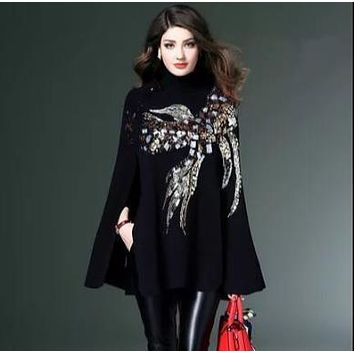 HIGH QUALITY Newest Fashion 2018 Runway Designer Sweater Women Batwing Sleeve Bird Sequined Cape Pullover Sweater RQ304