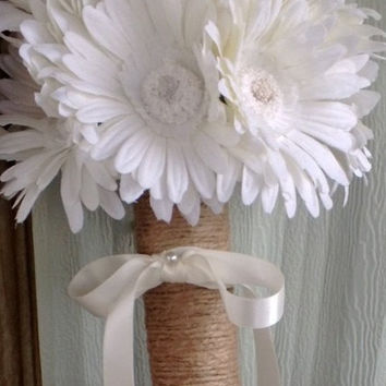 Silk White Daisy Wedding Bouquet wrapped in Natural Twine