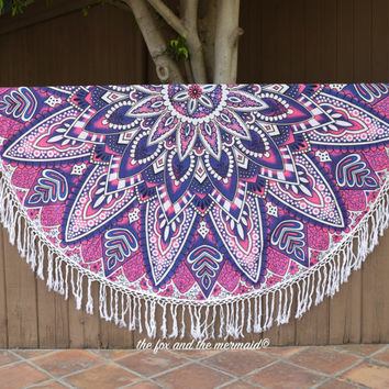 Round beach blanket, mandala roundie, mandala throw, round indian tapestry, boho tapestry, boho beach throw, picnic baby blanket, boho decor