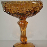 Fenton Amber Glass Compote Candy Dish Colonial Rose Vintage Collectible Thanksgiving Harvest Halloween