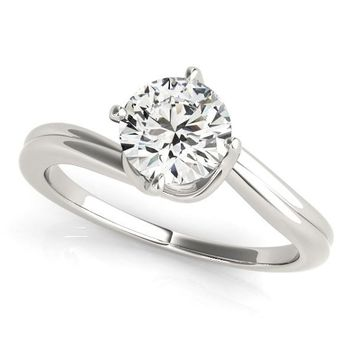 14K White Gold Solitaire Round Bypass Diamond Engagement Ring (1 ct. tw.)