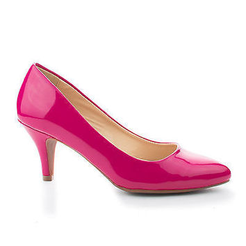James Hot Pink Patent by Classified, Pink Patent Pointy Toe Classic Dress Low Heel Pumps