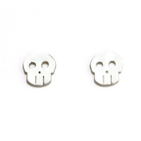 Skull Earrings, Silver