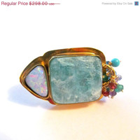 NEW-YEAR SALE Fire Opal Amazonite and multi dangle 18kt vermeil Ring