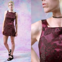 vtg 90's burgundy formal dress, 1990s fancy wedding prom, maroon purple red sleeveless, tank cocktail dress, tumblr fashion, urban outfitter