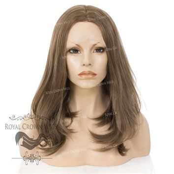 """17"""" Heat Safe Synthetic Lace Front """"Victoria"""" Bob with Straight Texture in Light Brown With Highlights"""