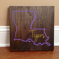 Louisiana Wood Sign, Custom Lousiana State Sign, Stained and Hand Painted, Personalize, Louisiana decor
