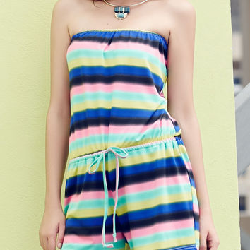 Rainbow Stripe Off-Shoulder Drawstring Romper
