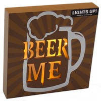 Prinz Beer Me LED Plaque Lights Up Frothy Mug Home Decor Man Cave Wall Hanging