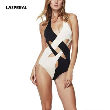 LASPERAL One Piece Swimsuit 2017 Sexy Halter Swimwear Women Bathing Suit Vintage Summer Beach Wear Bandage Monokini Swimsuit