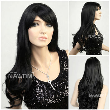 NAWOMI Big Wavy 100% Kanekalon Synthetic Hair Wig Black Ventilate Side Bang Capless