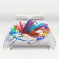 Dancing Peacock  Duvet Cover by Gréta Thórsdóttir  #peacock #birds #artist #watercolor #color #pencils #crayons #kids
