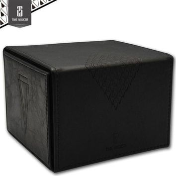 Black Leather Handmade Board Game Cards Box The Magical Gathering Collection Yu Gi Oh Board Games Accessories Case Container