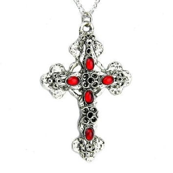 Gothic Filigree Cross Necklace Blood Red Swarovski Stone Pendant Jewelry