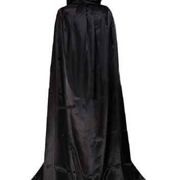Jami JP Halloween Masquerade Cloak (Hooded Cape) Mall-Top Long Party Mantle (US L Size (Asian XL), Night Black)