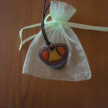 Artisan handmade colorful pendant. Yellow, orange, brown. Clay charm. FREE SHIPPING.