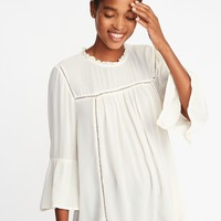 Ruffle-Neck Crinkle-Crepe Swing Blouse for Women | Old Navy