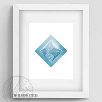 Light Blue Prism Instant Download Wall Art, Printable Wall Art, Wall Art, Geometric Wall Art, Geometric Home Decor, Minimal Wall Art, Prism