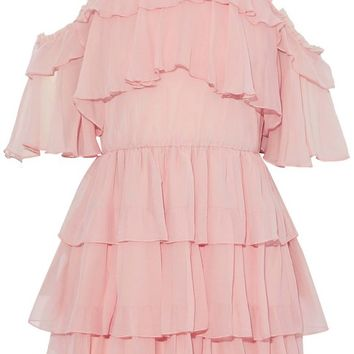 Ruffled silk-georgette mini dress | ALICE+OLIVIA | Sale up to 70% off | THE OUTNET