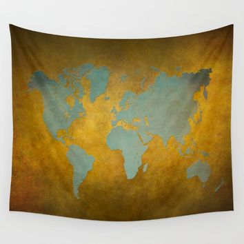 World map 9 green gold Wall Tapestry by jbjart
