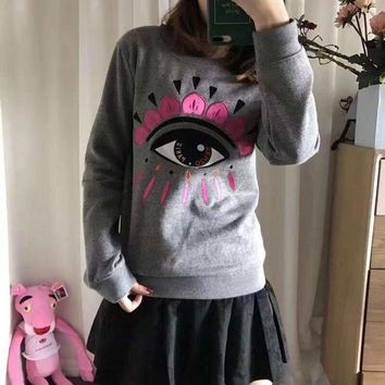 KENZO Women Fashion Embroidery Eye Top Sweater Pullover