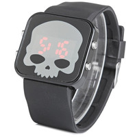 LED Sports Watch Skull Face Red Light Rubber Wristband Wrist Watch (Color: Black) = 1843089092