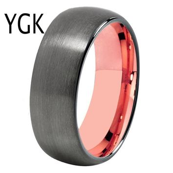 New Fashion Wedding Ring Women Men's Classic Engagement Ring Lover's Promise Ring Trendy Tungsten Ring Gunmetal With Rose Gold