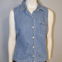 Vintage 1990's GAP Denim Sleeveless Button Down Shirt Blouse Top Size Small Chambray Blue Jean 90's with Pocket Basic Tank Top Women's