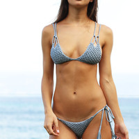 ACACIA Swimwear 2017 Kekaha Crochet Top in Sky- Large