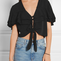 APIECE APART - Mora cropped tiered ruffled crepe top