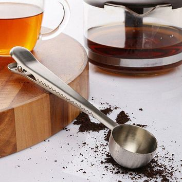 Silver Spoon Stainless Steel Ground Coffee Tea Measuring Spoon Scoop With Bag Sealing Clip Coffee Spoon American Classification