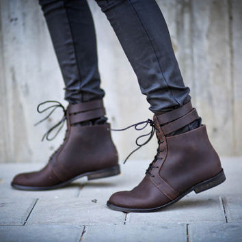 New! 25% Sale, Sofia, Brown Lace Up Boots, Riding Boots, Dark Brown Flats, Winter Shoes, Brown Boots