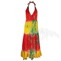 Rasta and Reggae Long Halter Tie-Dye Dress