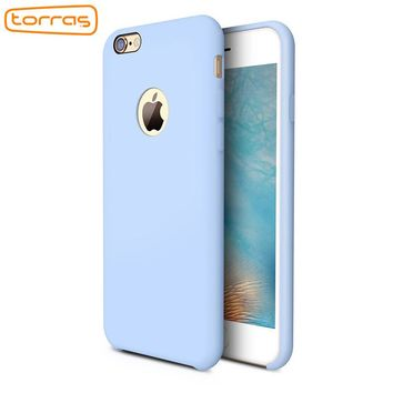 TORRAS Liquid Silicone Rubber Case for iPhone 6 7 Accessories Soft Phone Cover Case Microfiber Cushion Case for iPhone 7 7 plus