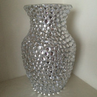 Glass Vase with Clear Rhinestones