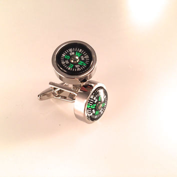Compass Cuff Links, Men's Cuff Links, Wedding Cuff Links, Father's Day Cuff Links