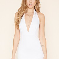 Deep-V Halter Mini Dress