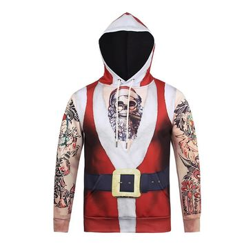Santa Claus Tattoos Sleeves All Over Print Hoodie Sweater