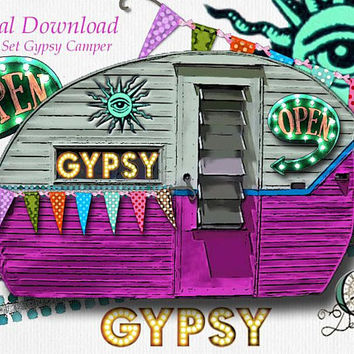 Gypsy Theme Graphic Design Pack | 7 png images with transparent background, high resolution 300 dpi, Camper, Sign, Gypsy, Ribbon Clip Art