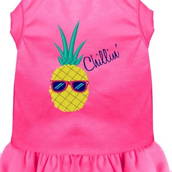 Pineapple Chillin Embroidered Dog Dress Bright Pink Med (12)