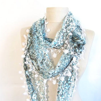 Christmas gift -Mint scarf-Infinity scarf-Gift-Circle Infinity Scarves-asuhan-Loop Scarf-mint green scarf tulle scarf