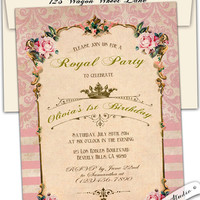 Vintage roses french Baby shower Tea Party invitation Birthday Shabby Chic damask Garden Royal Princess pink Blue printable diy or printed