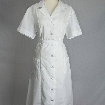 Vintage 70s Nurse Uniform Dress Asylum Costume XL