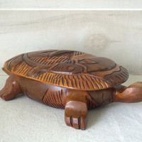 Vintage Wood Turtle Box, Tropical Carved Turtle, Wooden Sea Turtle