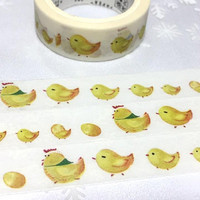 hen and chickens grow story Washi Tape 7M yellow Chicken Easter Chicken cartoon Sticker Tape chicken Farm baby animal chicken themed decor