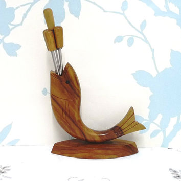 Novelty Sushi, Cocktail or Fondue Forks in a Fish Shaped Holder, Hardwood, Olive Wood, Fondu, Retro, Tableware, Serving, Kitchenalia