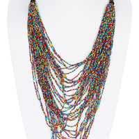 NECKLACE / MULTI LAYERED / SEED BEAD / WOODEN BEAD / 26 INCH LONG / 7 INCH DROP / NICKEL AND LEAD COMPLIANT