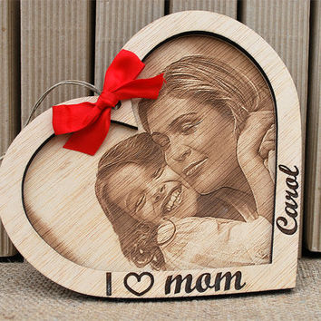 personalized wood heart, engraved photo with frame, mother's day gift, ribbon, burlap string ,